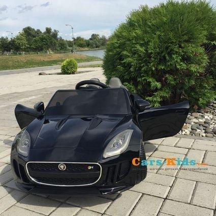 Электромобиль Jaguar F-Type красный (колеса резина, сиденья кожа, пульт, музыка)