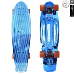 "402H-Bl Скейтборд Y-SCOO Big Fishskateboard metallic 27"" винил 68,6х19 с сумкой BLUE/brown"